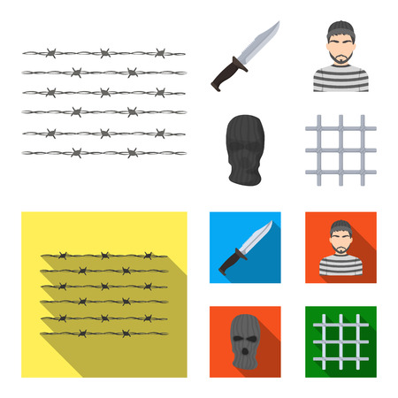 Knife, prisoner, mask on face, steel grille. Prison set collection icons in cartoon,flat style bitmap symbol stock illustration web. Zdjęcie Seryjne
