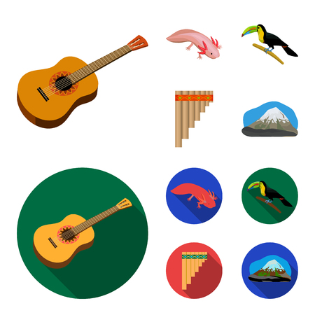 Sampono Mexican musical instrument, a bird with a long beak, Orizaba is the highest mountain in Mexico, axolotl is a rare animal. Mexico country set collection icons in cartoon,flat style bitmap symbol stock illustration web. Stock Illustration - 112041568