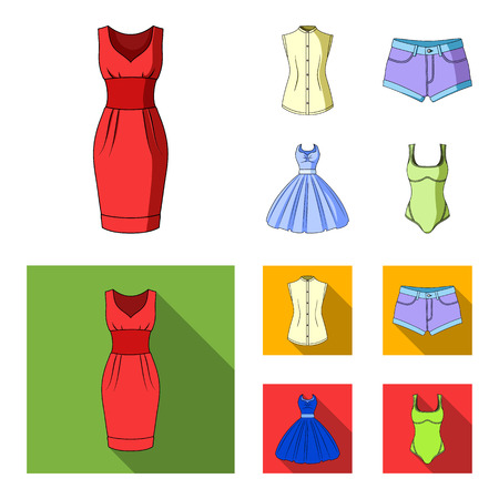 Women Clothing cartoon,flat icons in set collection for design.Clothing Varieties and Accessories bitmap symbol stock web illustration.