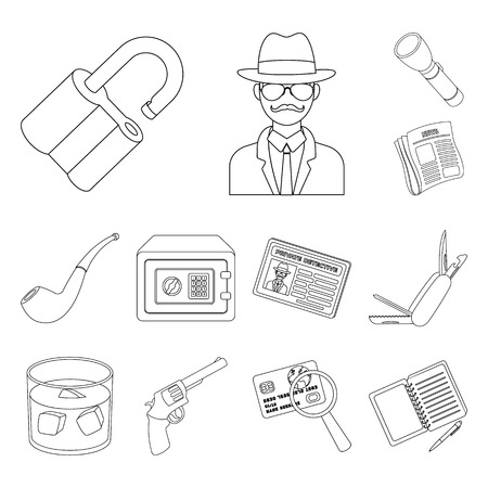 Detective and Attributes outline icons in set collection for design.Detective Agency bitmap symbol stock web illustration. Imagens