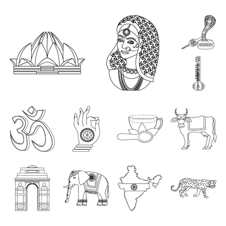 Country India outline icons in set collection for design.India and landmark bitmap symbol stock web illustration.