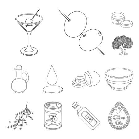 Olive, food outline icons in set collection for design. Olive oil, seasoning bitmap symbol stock web illustration.