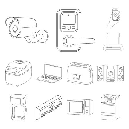 Smart home appliances outline icons in set collection for design. Modern household appliances bitmap symbol stock web illustration. Stock Illustration - 112092396