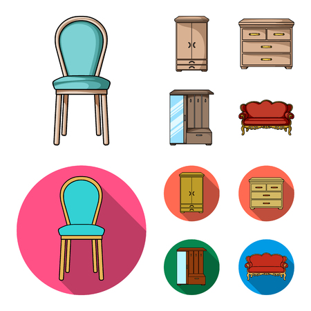 Armchair, cabinet, bedside, table .Furniture and home interiorset collection icons in cartoon,flat style bitmap symbol stock illustration web.