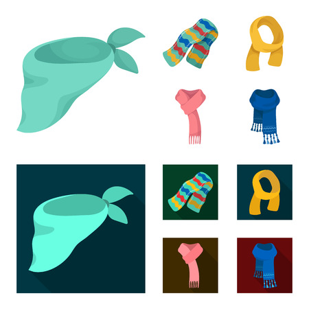 Various kinds of scarves, scarves and shawls. Scarves and shawls set collection icons in cartoon,flat style bitmap symbol stock illustration web.