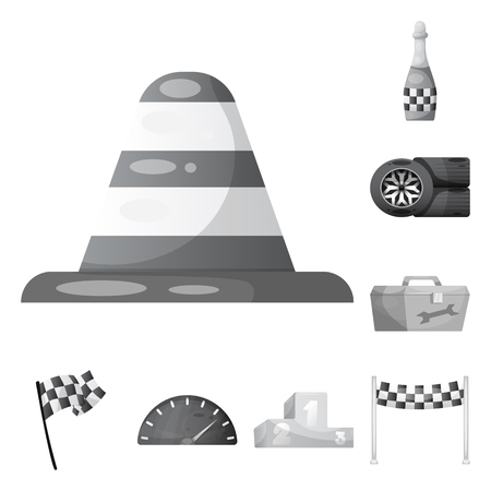 Vector design of car and rally sign. Set of car and race stock vector illustration. Illustration