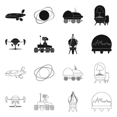Isolated object of mars and space symbol. Collection of mars and planet vector icon for stock.