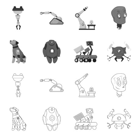 Vector design of robot and factory symbol. Collection of robot and space stock vector illustration. Vector Illustration