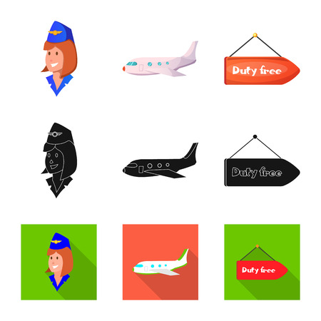 Vector illustration of airport and airplane sign. Set of airport and plane vector icon for stock. Illustration