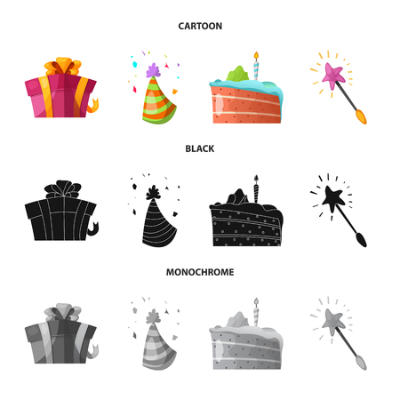 Vector design of party and birthday logo. Collection of party and celebration stock symbol for web. Illustration