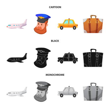 Vector design of airport and airplane icon. Collection of airport and plane stock vector illustration.