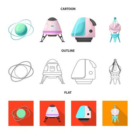 Vector design of mars and space icon. Set of mars and planet vector icon for stock.