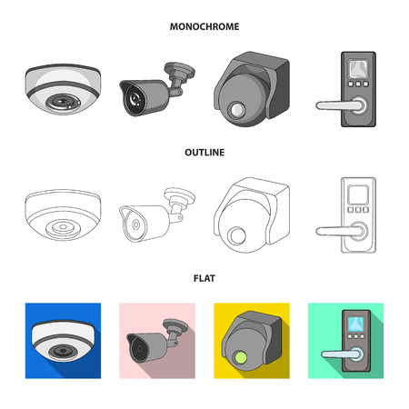 Isolated object of cctv and camera logo. Set of cctv and system vector icon for stock.