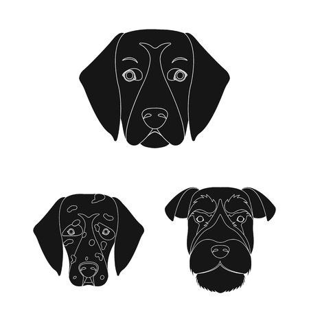 Dog breeds black icons in set collection for design.Muzzle of a dog bitmap symbol stock web illustration.