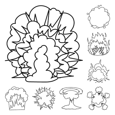 Different explosions outline icons in set collection for design.Flash and flame bitmap symbol stock web illustration.