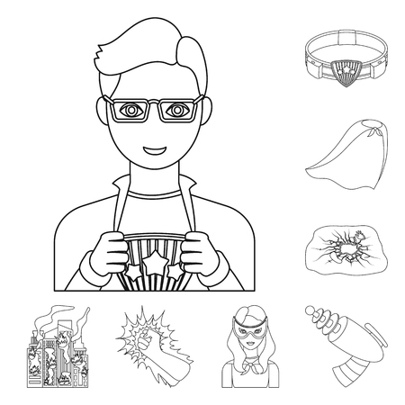 A fantastic superhero outline icons in set collection for design. Superhero equipment bitmap symbol stock web illustration. Imagens