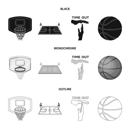 Basketball and attributes black,monochrome,outline icons in set collection for design.Basketball player and equipment bitmap symbol stock web illustration.