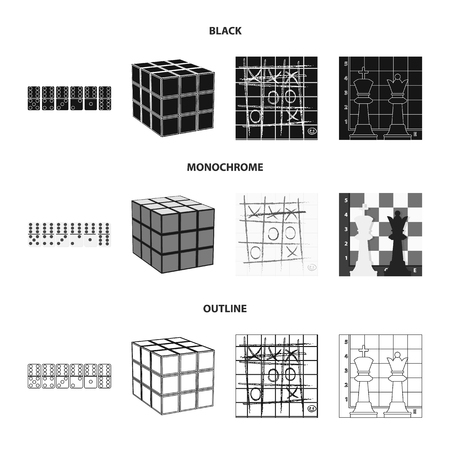 Board game black,monochrome,outline icons in set collection for design. Game and entertainment bitmap symbol stock web illustration. Stok Fotoğraf - 112122799