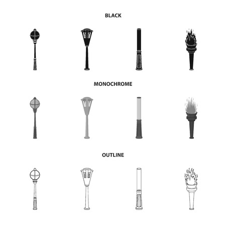 Lamppost in retro style, modern lantern, torch and other types of streetlights. Lamppost set collection icons in black,monochrome,outline style bitmap symbol stock illustration web.