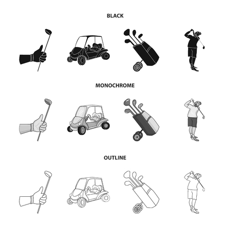 A gloved hand with a stick, a golf cart, a trolley bag with sticks in a bag, a man hammering with a stick. Golf Club set collection icons in black,monochrome,outline style bitmap symbol stock illustra