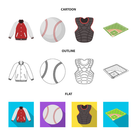 Playground, jacket, ball, protective vest. Baseball set collection icons in cartoon,outline,flat style bitmap symbol stock illustration web. Stock Photo