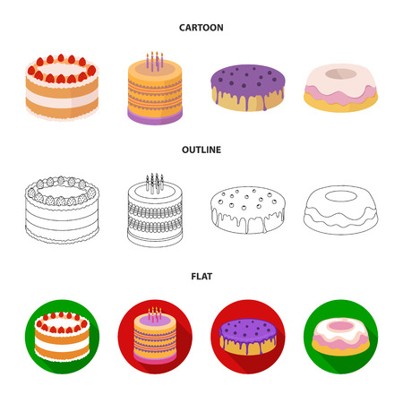 Sweetness, dessert, cream, treacle .Cakes country set collection icons in cartoon,outline,flat style bitmap symbol stock illustration web. Stock Photo