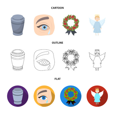 The urn with the ashes of the deceased, the tears of sorrow for the deceased at the funeral, the mourning wreath, the angel of death. Funeral ceremony set collection icons in cartoon,outline,flat style bitmap symbol stock illustration web.