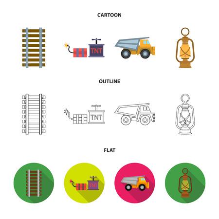 Ryllsy,vzryvchatka, dumper, lantern.Mine set collection icons in cartoon,outline,flat style bitmap symbol stock illustration web.