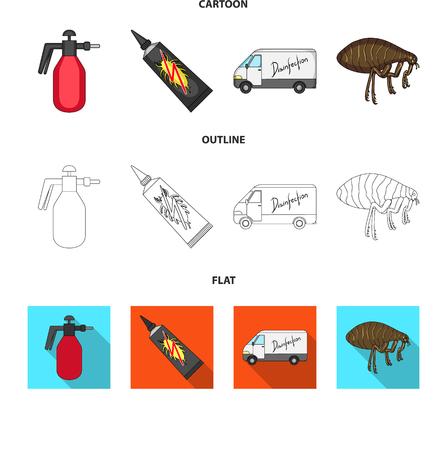 Pulgas, dibujos animados de coches y equipos especiales, contorno, planos iconos de colección set de diseño. Ilustración de stock de símbolo de mapa de bits del servicio de control de plagas.