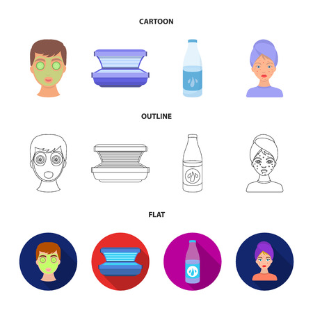 Face mask, solarium, bottle ts lasenom, pimples on face. Skin Care set collection icons in cartoon,outline,flat style bitmap symbol stock illustration web.