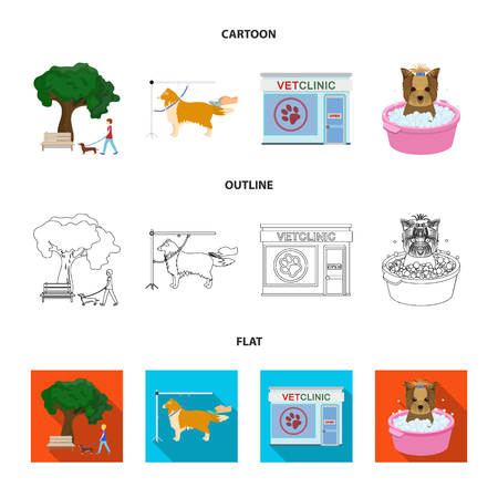 Walking with a dog in the park, combing a dog, a veterinarian office, bathing a pet. Vet clinic and pet care set collection icons in cartoon,outline,flat style bitmap symbol stock illustration web.