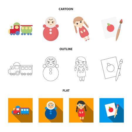Train.kukla, picture.Toys set collection icons in cartoon,outline,flat style bitmap symbol stock illustration web. Reklamní fotografie