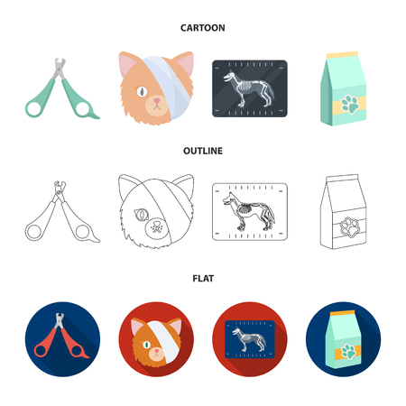 Scissors, cat, bandage, wounded .Vet Clinic set collection icons in cartoon,outline,flat style bitmap symbol stock illustration web.