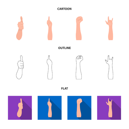 Sign Language cartoon,outline,flat icons in set collection for design.Emotional part of communication bitmap symbol stock web illustration.