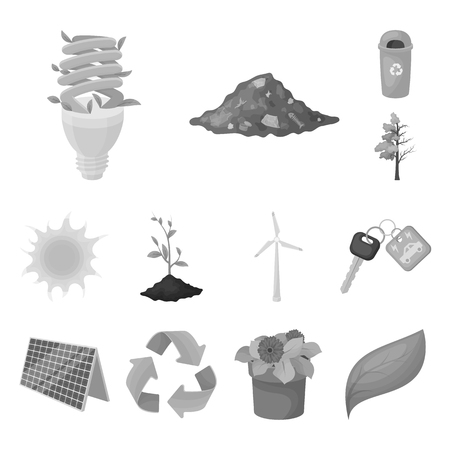 Bio and ecology monochrome icons in set collection for design. An ecologically pure product bitmap symbol stock web illustration.