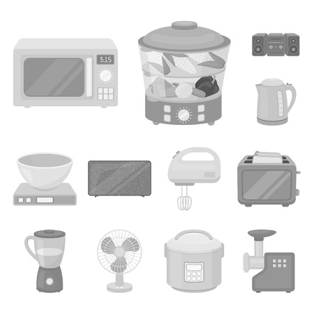 Types of household appliances monochrome icons in set collection for design.Kitchen equipment bitmap symbol stock web illustration.