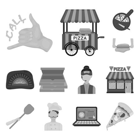 Pizza and pizzeria monochrome icons in set collection for design. Staff and equipment bitmap symbol stock web illustration.