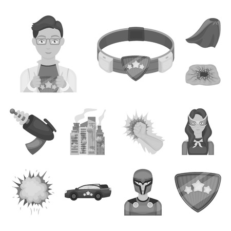 A fantastic superhero monochrome icons in set collection for design. Superhero equipment bitmap symbol stock web illustration.