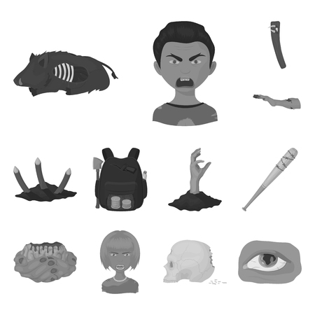 Zombies and Attributes monochrome icons in set collection for design. Dead man bitmap symbol stock web illustration.