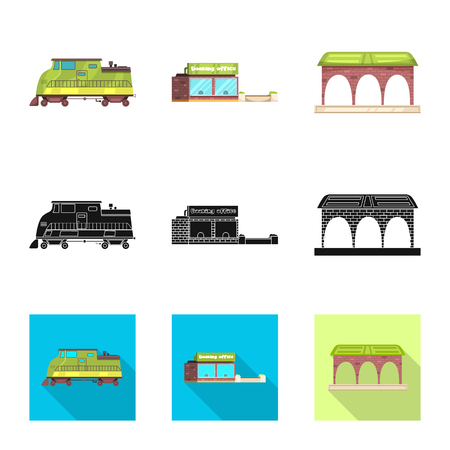 Vector design of train and station sign. Collection of train and ticket stock vector illustration.
