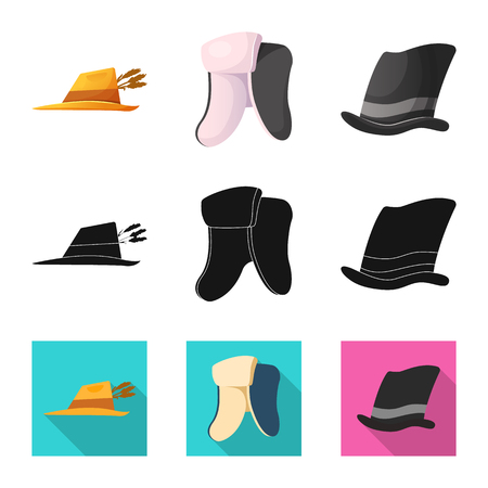 Vector illustration of headgear and cap sign. Collection of headgear and headwear stock vector illustration.