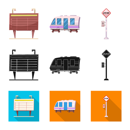 Vector design of train and station logo. Collection of train and ticket vector icon for stock.