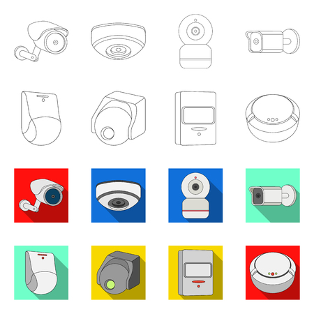 Vector design of cctv and camera sign. Set of cctv and system vector icon for stock. Stock Illustratie