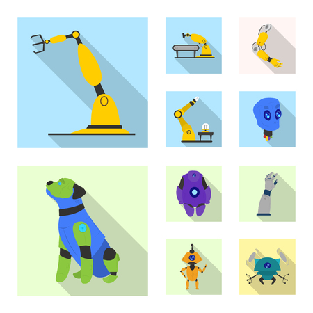 Vector design of robot and factory icon. Set of robot and space stock symbol for web. Ilustrace