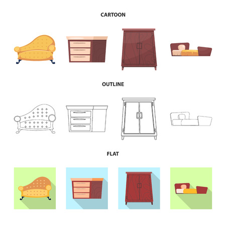 Isolated object of furniture and apartment symbol. Set of furniture and home stock vector illustration.