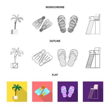 Ilustración de vector de piscina y logo de natación. Conjunto de símbolo de stock de piscina y actividad para web.