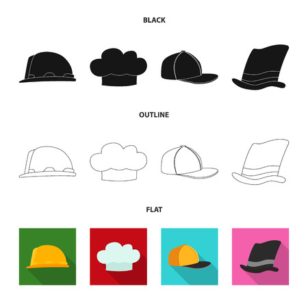 Isolated object of headgear and cap icon. Collection of headgear and headwear vector icon for stock.
