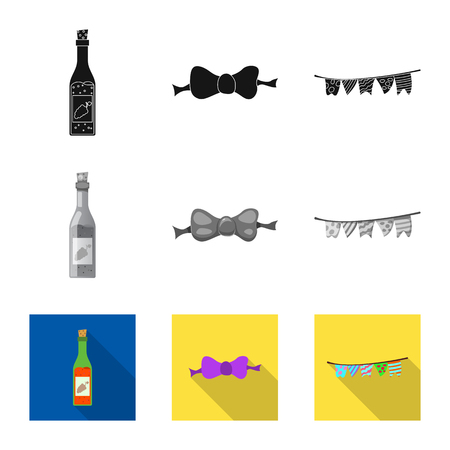 Isolated object of party and birthday logo. Collection of party and celebration vector icon for stock.