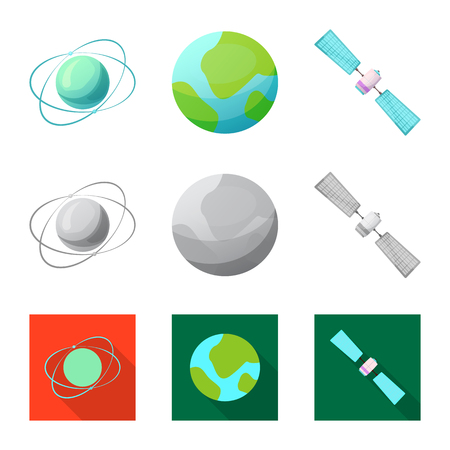 Vector illustration of mars and space icon. Set of mars and planet vector icon for stock. Illustration