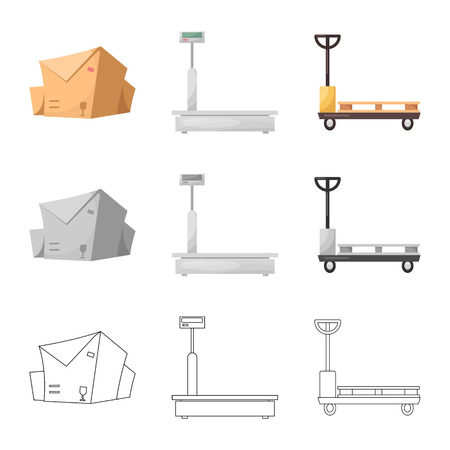 Vector design of goods and cargo logo. Set of goods and warehouse stock symbol for web.
